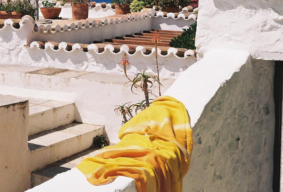 Sunset Greek Key Linen Tablecloth