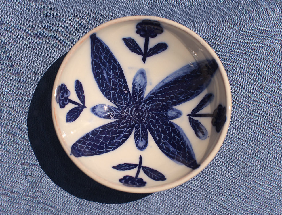 Small Ceramic Bowl - Aegean Collection - Blue Floral Motif