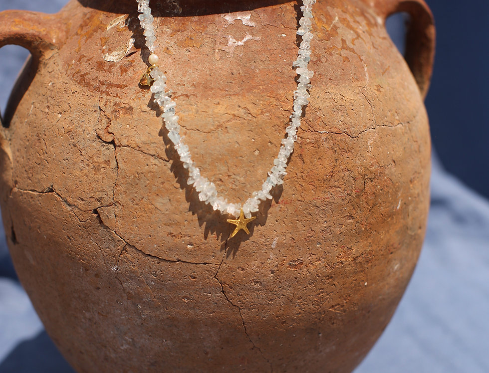Starfish - Aquamarine and Gold Talisman Necklace