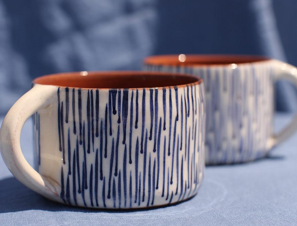 Coffee Mug Set - Aegean Collection - Abstract Rain