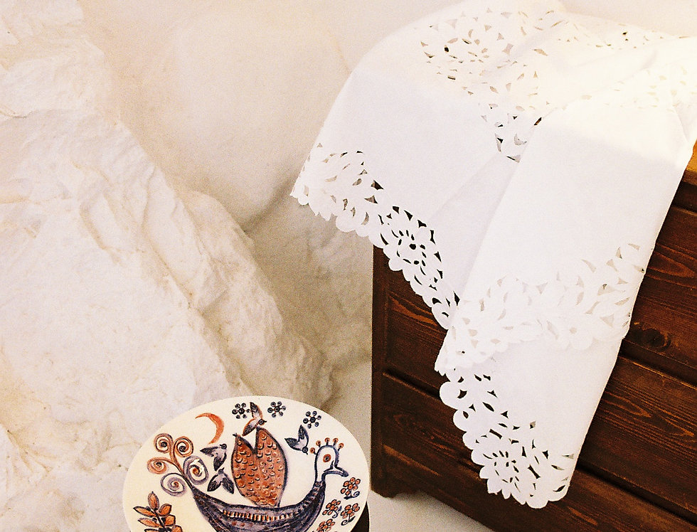 Linen and Cotton Cut Work Vintage Tablecloth