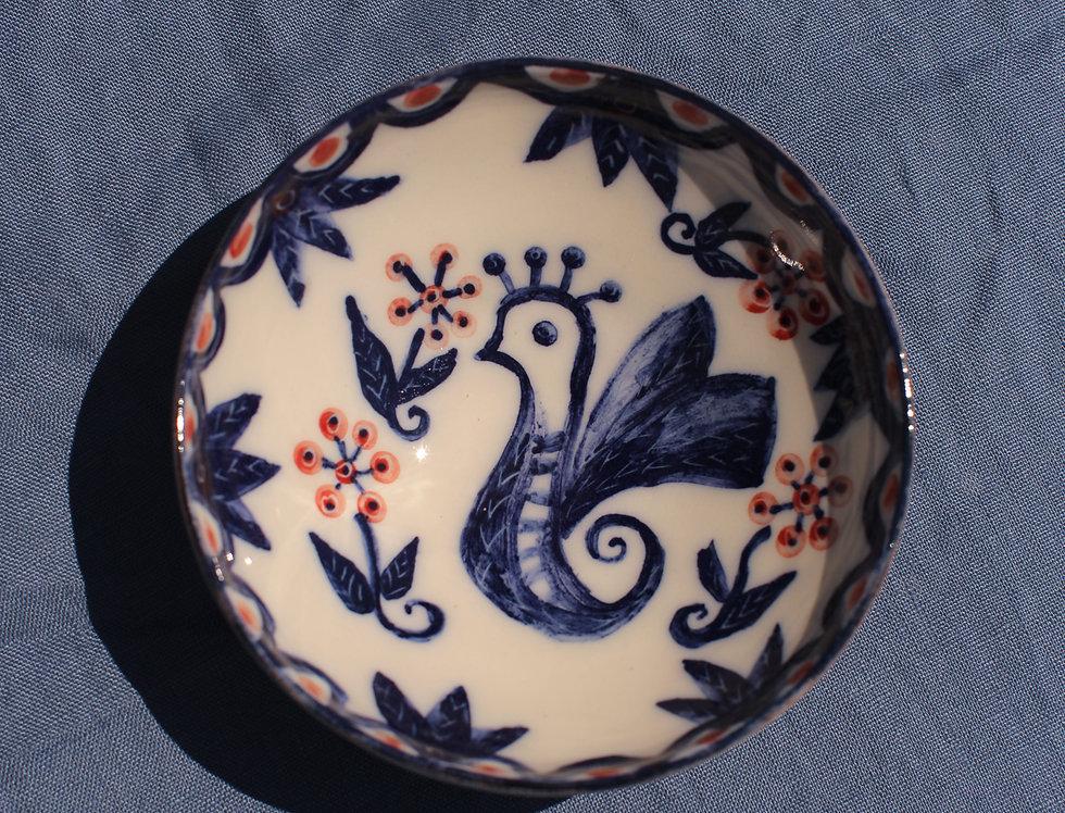 Small Ceramic Bowl - Aegean Collection - Blue Cockerel Folk