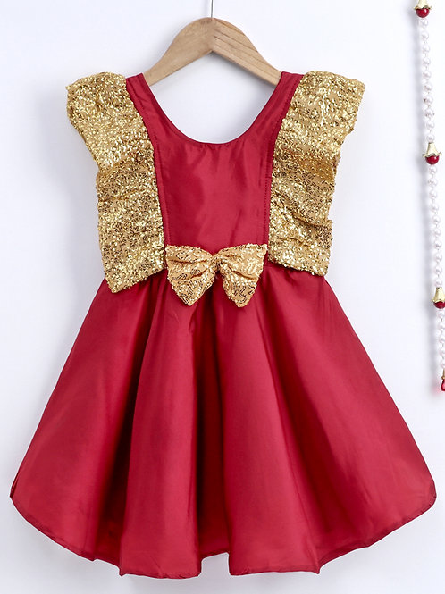 Bow N Bee Girls Maroon Sequin Frill Silk Party Frock