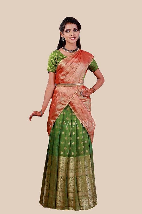 Shivangi Mango Stream Half Saree for Teenager in Green