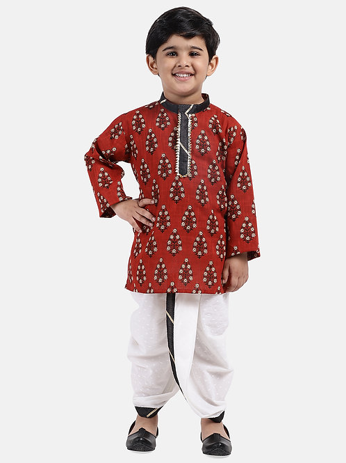 Readymade Bow n Bee Boys Maroon Jaipuri Print Cambric Cotton Dhoti Kurta