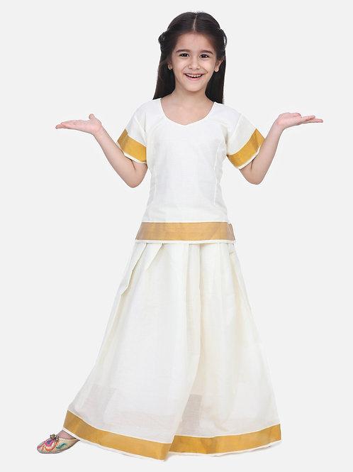 Kidswear Girls Bow n Bee White Indian Pavada Pattu Lehenga