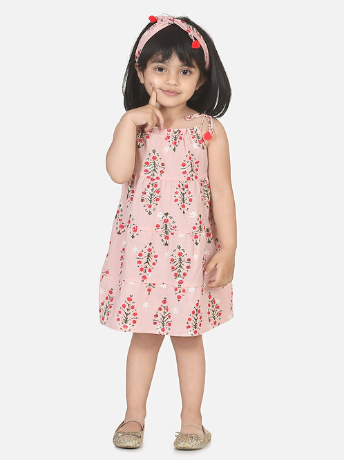 Bow N Bee Girls  Block Print Tier Cotton Frock with Headband in Baby Pink
