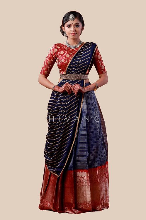 Shivangi Girls Floral Mango Half Saree | Langa Voni !!! – AN14NBU