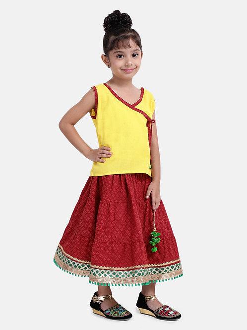 Bow N Bee Girls Sanganeri Print Cambric cotton set in Yellow