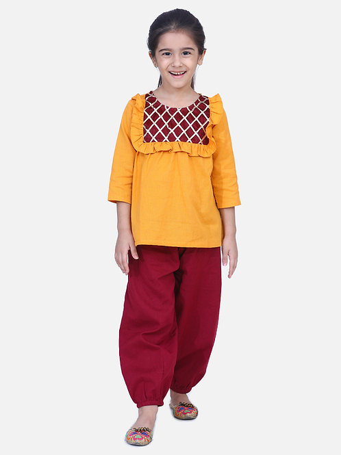 Bow n Bee Girls Indo western Top with Harem Pants in Yellow