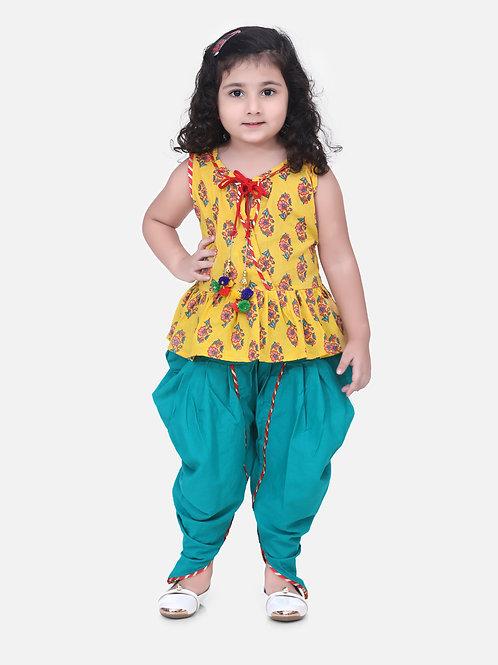 Bow N Bee Girls Yellow Jaipuri Print Pure Cotton Dhoti