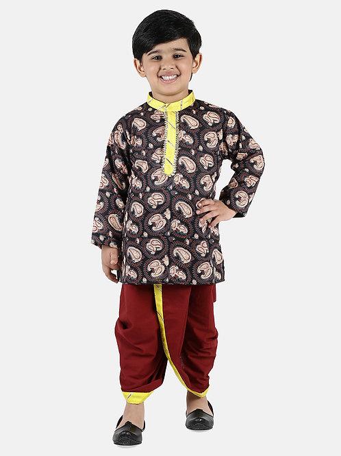 Readymade Bow n Bee Boys Brown Jaipuri Print Cambric Cotton Dhoti Kurta
