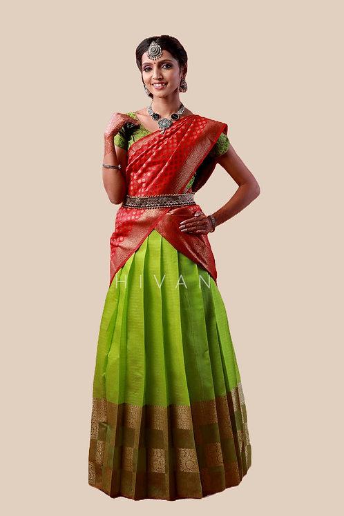Shivangi Girls Golden Tiles Half Saree | Langa Voni !!! – AN07GR