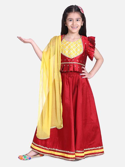 Kidswear Girls Bow n Bee Red Taffeta Booti Patch Lehenga Choli