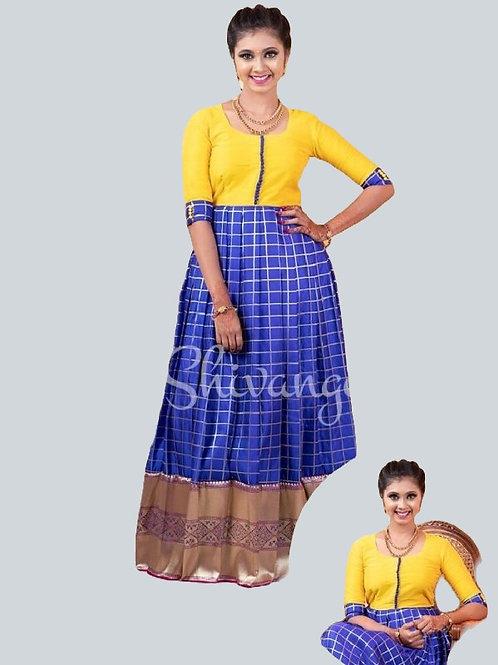 Shivangi Satin Checks Long Gown in Blue