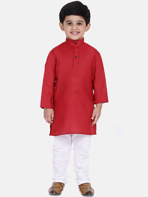 Kidswear Bow n Bee Boys Stand Collar Cotton Kurta pajama in Red