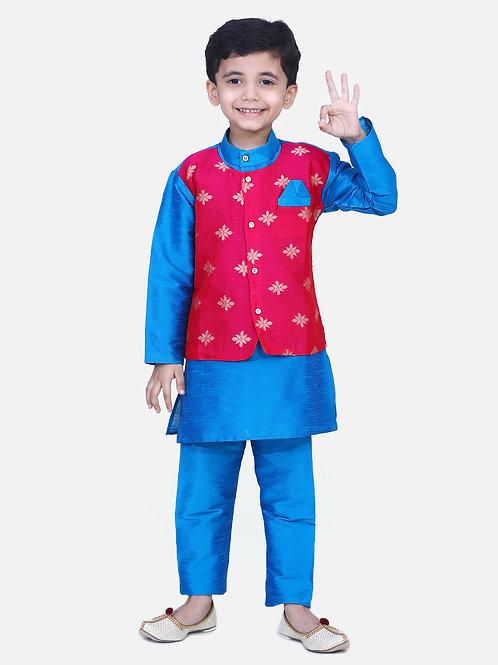 Kidswear Bow n Bee Chiffon Jacket Full Sleeve Kurta Pajama in Blue