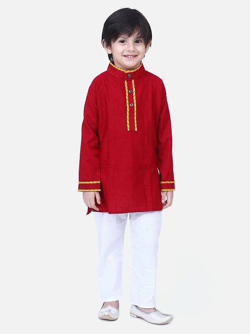 Kidswear Boys Bow n Bee Maroon Full Sleeve Stand Collar Kurta Pajama