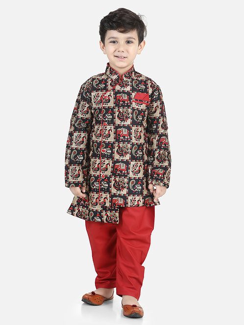 Bow N Bee Mor Print Full Sleeve Sherwani Dhoti in Maroon