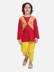 Bow n Bee Boys Block Print Jaipuri Cotton Dhoti Kurta in Pink
