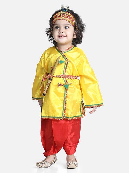 Bow N Bee Little Kanhaiya Suit Dress Set in Yellow Red