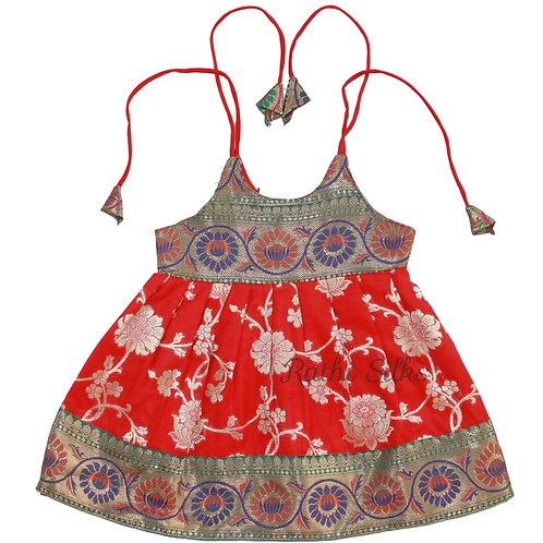 Pure Silk Shoulder Knot Baby Frocks in Red