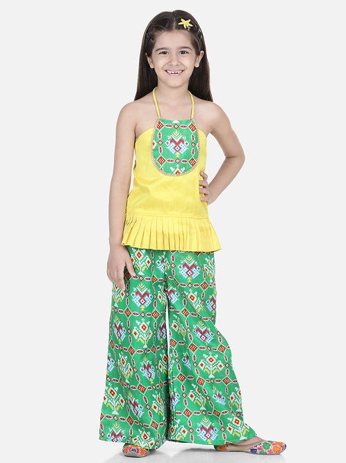 NatyamPatola Grecian Neck with Palazzo in Green for girls