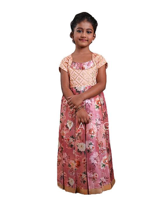 Shivangi Satin Digital Print Long Gown in Pink