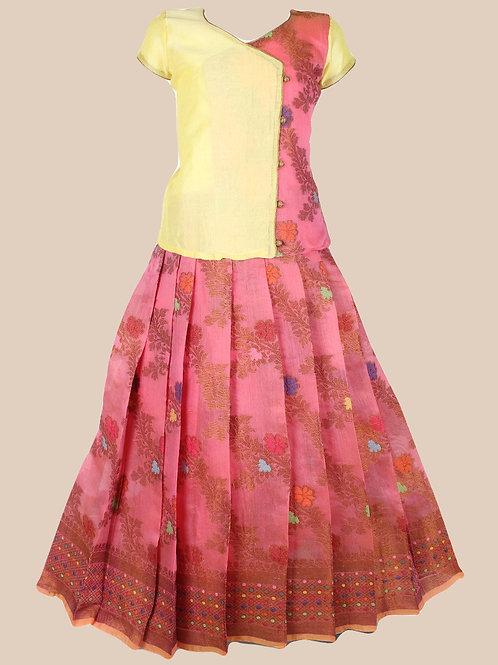 Shivangi Girls Jal Motiff Pavadai Set/Lehenga