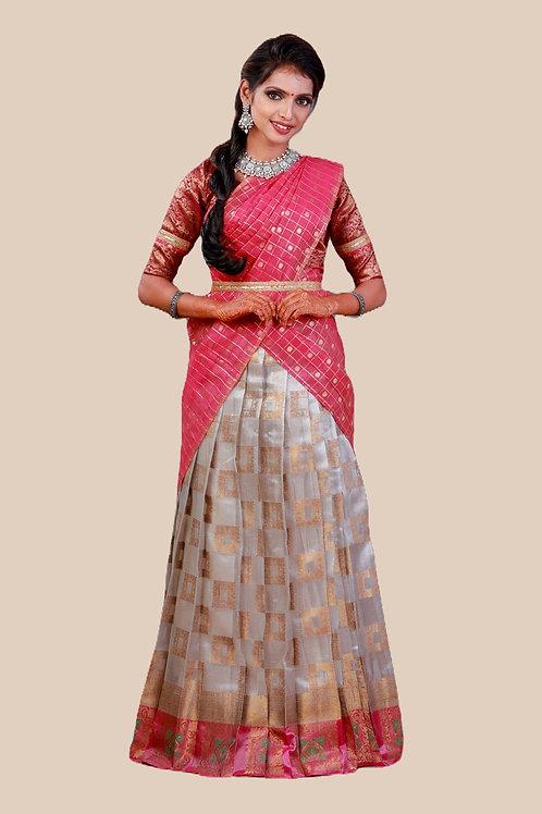 Shivangi Girls Tissue Malgudi Half saree | Langa Dhavani !!! – AN22SL