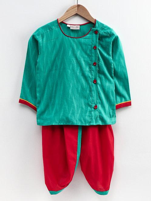 Kidswear Bow n Bee Boys  Infant Dhoti Kurta in Green