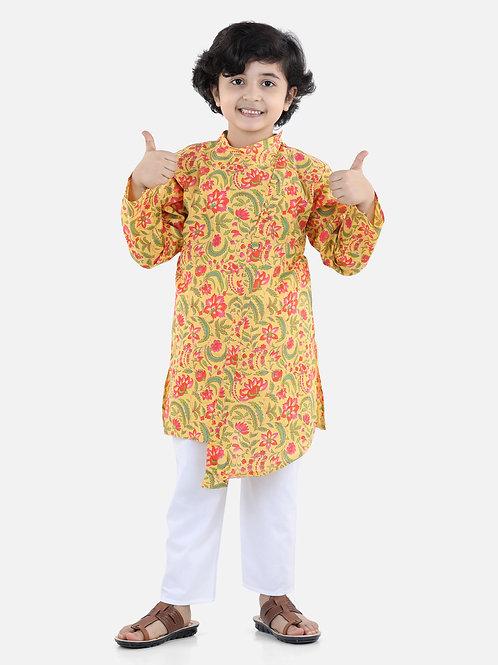 Bow N Bee Cotton Kurta Pyjama in Yellow