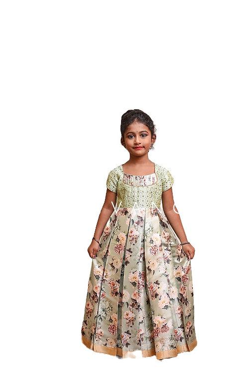 Shivangi Satin Digital Print Long Gown in Green