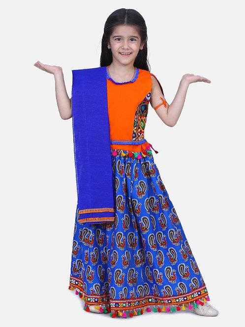 Bow N Bee Mor Print Chaniya Choli With Frill Dupatta in Blue