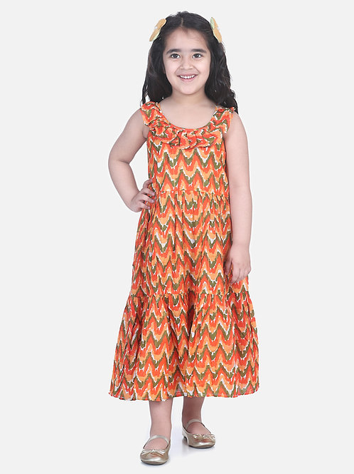 Bow N Bee Girls  Chevron Dot Tier Halter Neck Gown in Orange