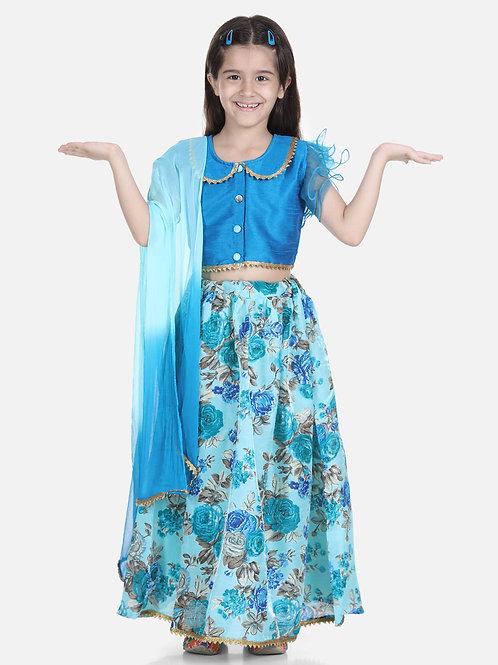 Bow N Bee Ruffle Sleeve Blue Floral Lehenga