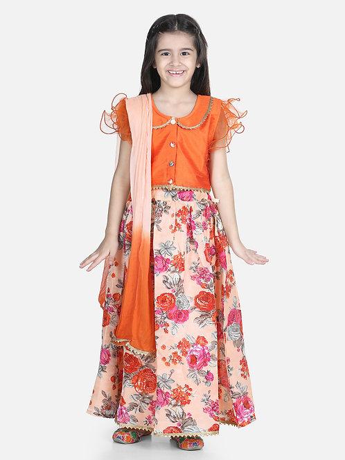 Bow N Bee Ruffle Sleeve Orange Floral Lehenga