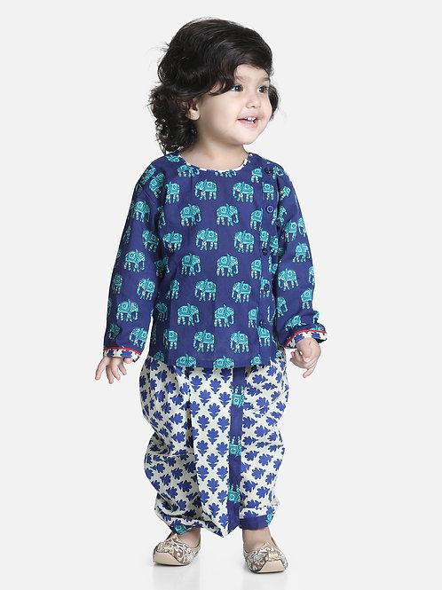 Bow N Bee Hathi Print Blue Infant Cotton Dhoti kurta