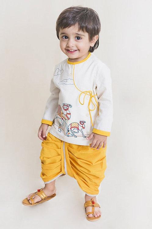 Tiber Taber Baby Boy White Embroidered Camel Dhoti Set
