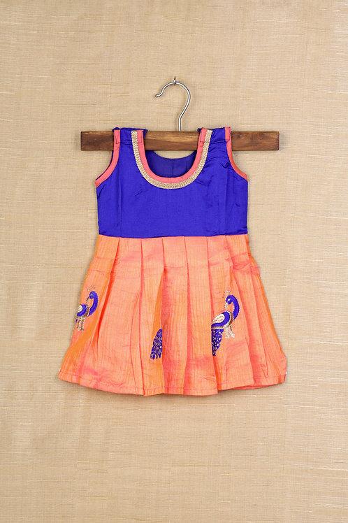 Shivangi orange  and blue Baby Banaras Frocks !!!