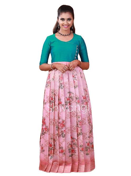 Shivangi Digital Print Long Gown in Pink