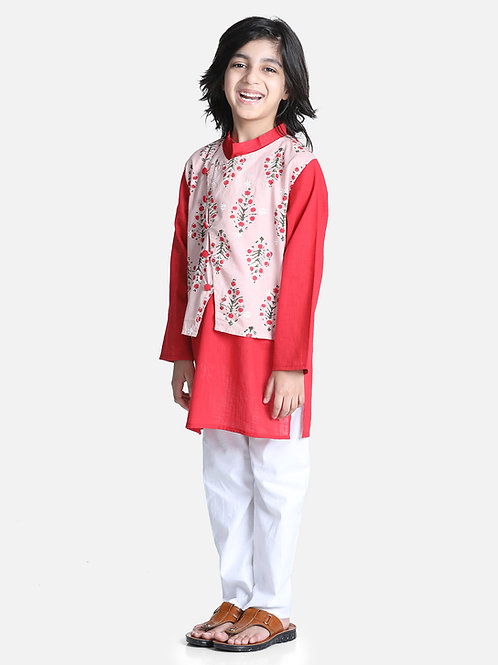 Bow n Bee Attached Jacket Kurta Pajama for Boys in Peach