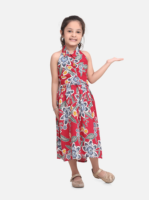 Bow N Bee Baby Girls Halter Neck Collar Frock in Pink