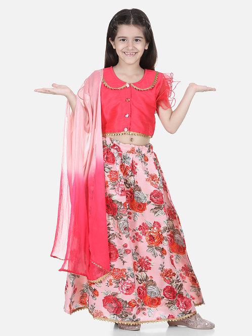 Bow N Bee Ruffle Sleeve Pink Floral Lehenga