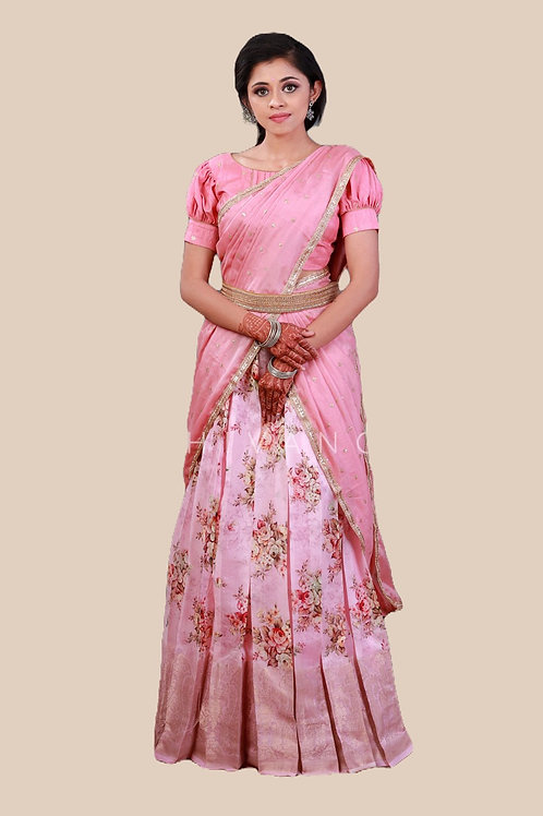 Shivangi Digital Print Pattu Langa Half Saree dhavani