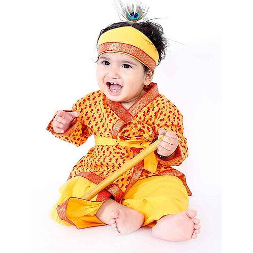 Boys Krishna Kurta Dhoti dress in Yellow