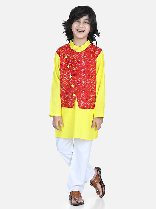 Bow n Bee Attached Jacket Kurta Pajama for Boys in Red