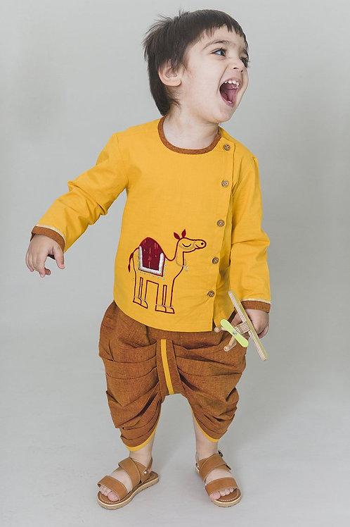 Tiber Taber Baby Boy Yellow Royal Camel Dhoti Set