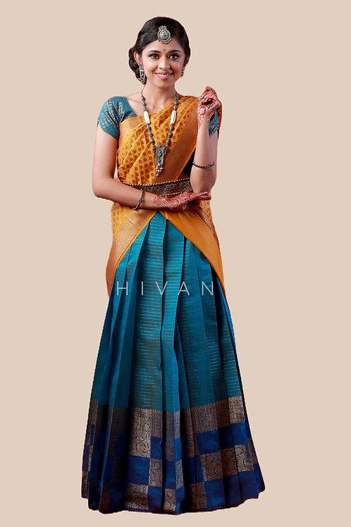 Shivangi Girls Golden Tiles Half Saree   Langa Voni !!! – AN07SB