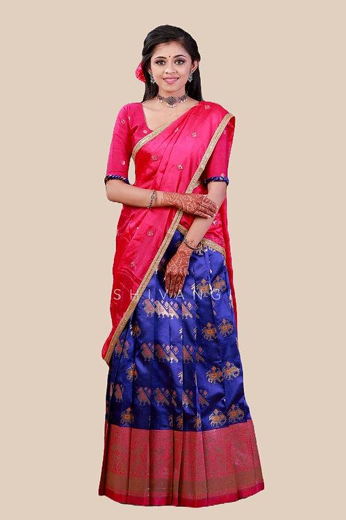 Shivangi Girls Peacock Patola Half Saree   Langa Voni !!! – AN09BU